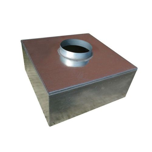 Metal 200mm Plenum Box 150mm Top Entry Spigot with Spot Welded and Primed Seam Joints
